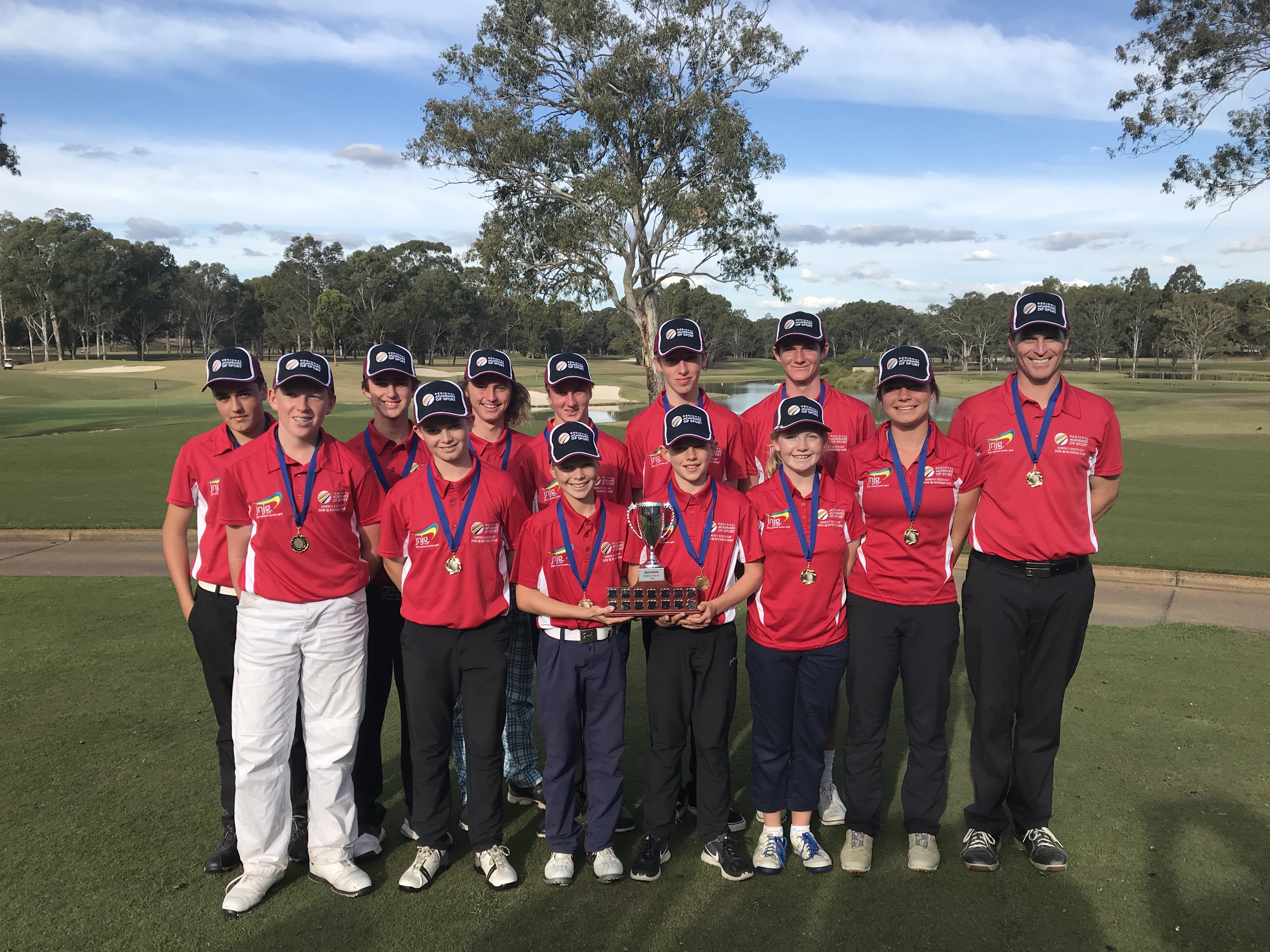 Three Hunter Academy of Sport (HAS) golfers represented North at the inaugural North vs South Jack Newton Regional Academies of Sport golf tournament held at Riverside Oaks Golf Club in Cattai at the weekend.