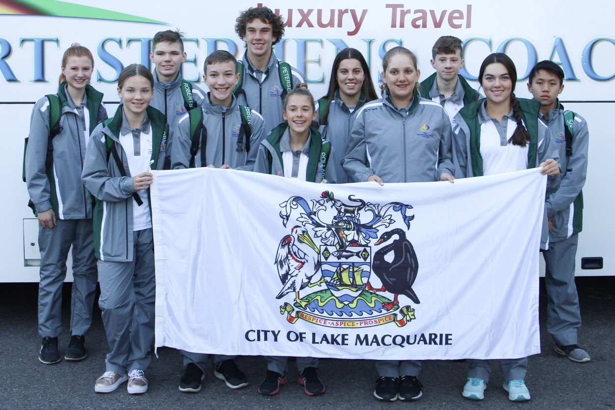 An enthusiastic bus load of swimmers, track and field athletes and tennis players left the Lake Macquarie City Administration Building on Wednesday, 25th July, bound for the International Children's Games (ICG) in Jerusalem.